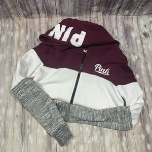 Pink zip up jacket maroon